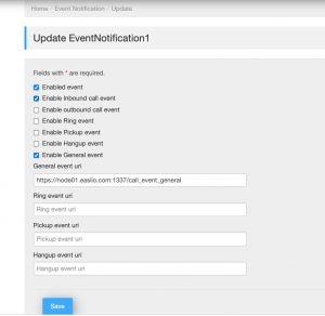Configure Easiio business phone event notification to external node.js API server.